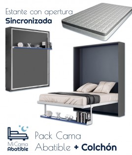 Pack Cama Abatible Vertical con estante sincronizado y colchón Ref CAN48000