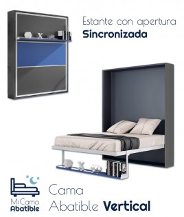 Cama Abatible Vertical con estante sincronizado y puerta Bicolor Ref CAN47000