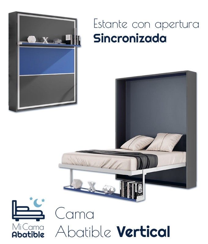 Cama Abatible Vertical con estante sincronizado y puerta Bicolor Ref CAN47000