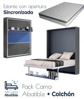 Pack Cama Abatible Vertical con estante sincronizado y colchón Ref CAN49000