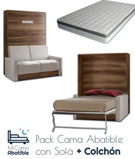 Pack Cama Abatible Vertical con Sofá y Colchón Ref CAN28000