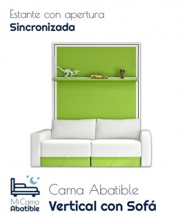 Cama Abatible Vertical con Sofá y Estante Sincronizado Ref CAN16000