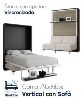 Cama Abatible Vertical con Sofá y Estante Sincronizado Ref CAN44000