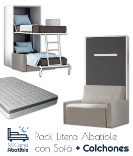 Pack Litera Abatible Vertical con Sofá y Colchones Ref CAN38000