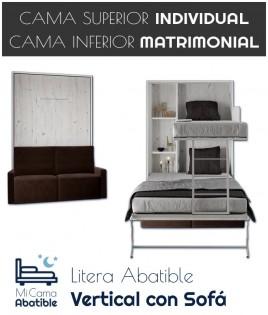 Litera Abatible Vertical con cama Matrimonial y Sofá Ref CAN36000