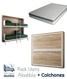 Pack Litera Abatible Horizontal con opción de Altillo y Colchones Viscoelásticos Ref CAN32000