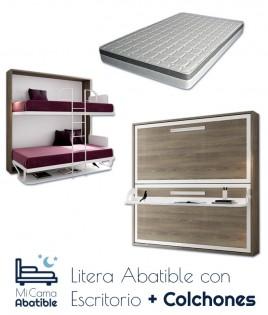 Pack Litera Abatible Horizontal con Escritorio, Altillo opcional y Colchones Ref CAN33000