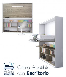 Cama Abatible con Zona de Estudio disponible en diferentes medidas y colores Ref CAN17000