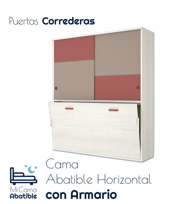 Cama Abatible Horizontal con armario superior Ref CAY36000